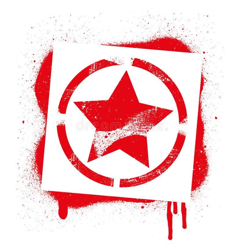 Matrycuje GWIAZDOWEGO symbol Czerwony graffiti druk na białym tle Wektorowa projekt ulicy sztuka ilustracja wektor