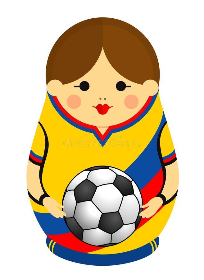 Matryoshka的图画与在她的手上的哥伦比亚的旗子的颜色的拿着一个足球 在蓝色的俄国嵌套玩偶,红色 向量例证