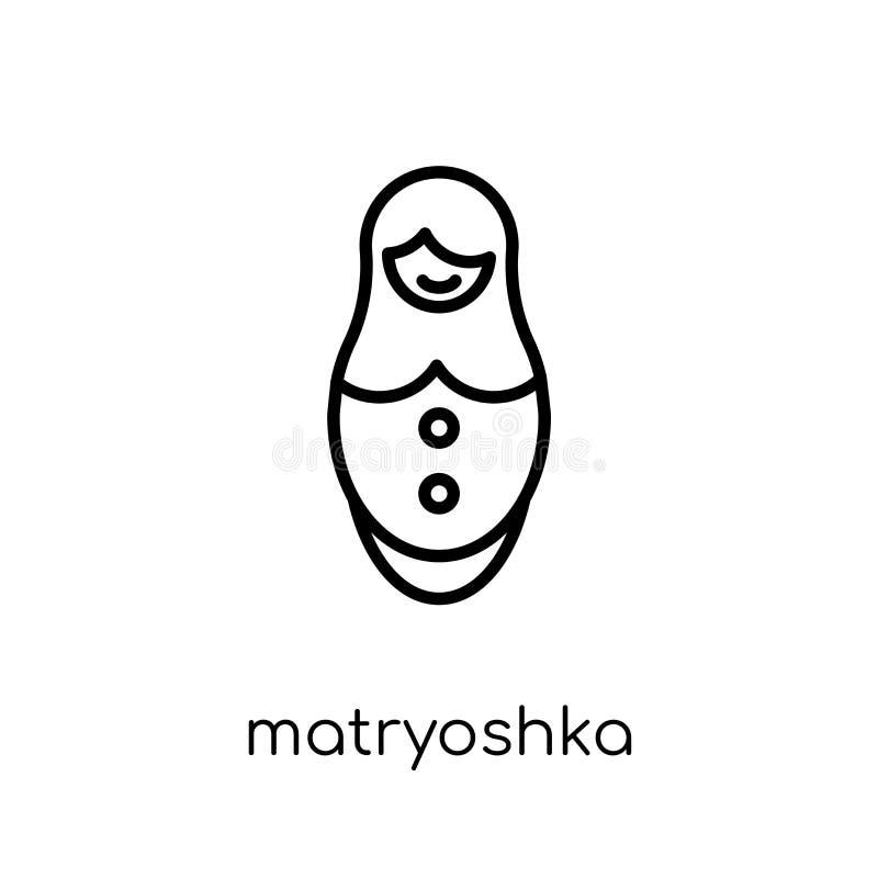 Matryoshka象 时髦现代平的线性传染媒介matryoshka ico 向量例证