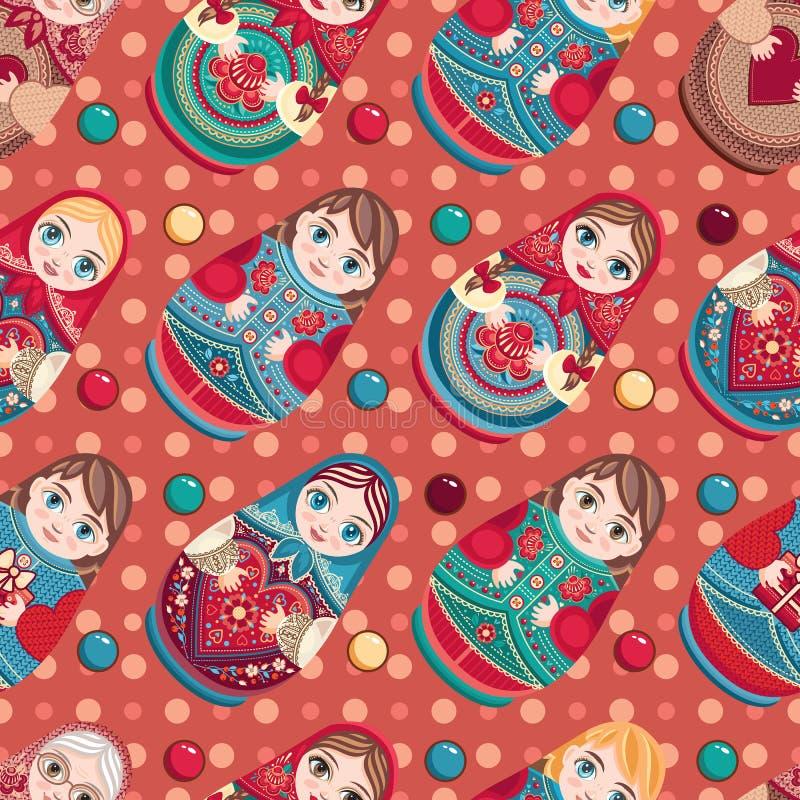 Matryoshka Babushka docka seamless modell royaltyfri illustrationer