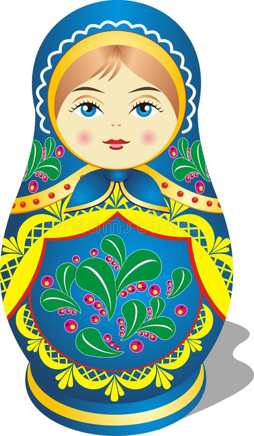 Matryoshka, brown-haired girl in blue-Russian folk toy royalty free stock photo