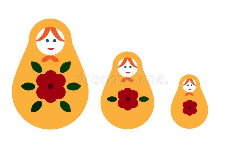Matryoshka Bygga bo dockan, en uppsättning av dockor - souvenir från Ryssland stock illustrationer