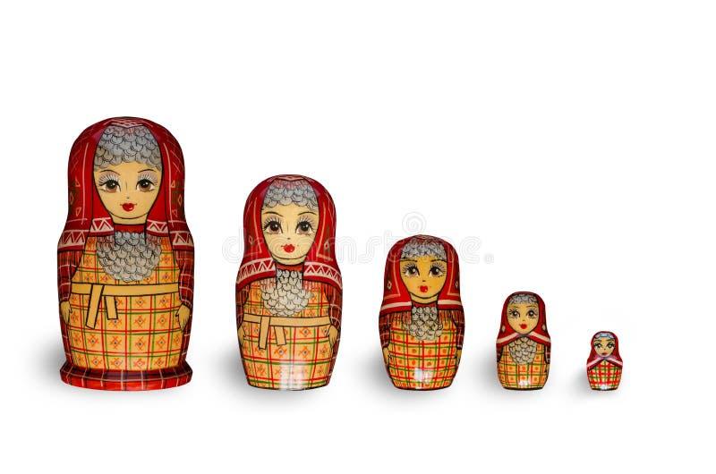 Matryoshka Cinque bambole rosse immagini stock libere da diritti