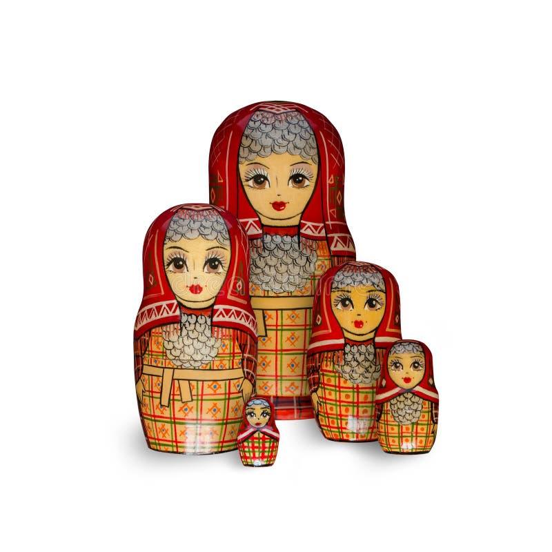 Matryoshka Cinque bambole rosse fotografie stock