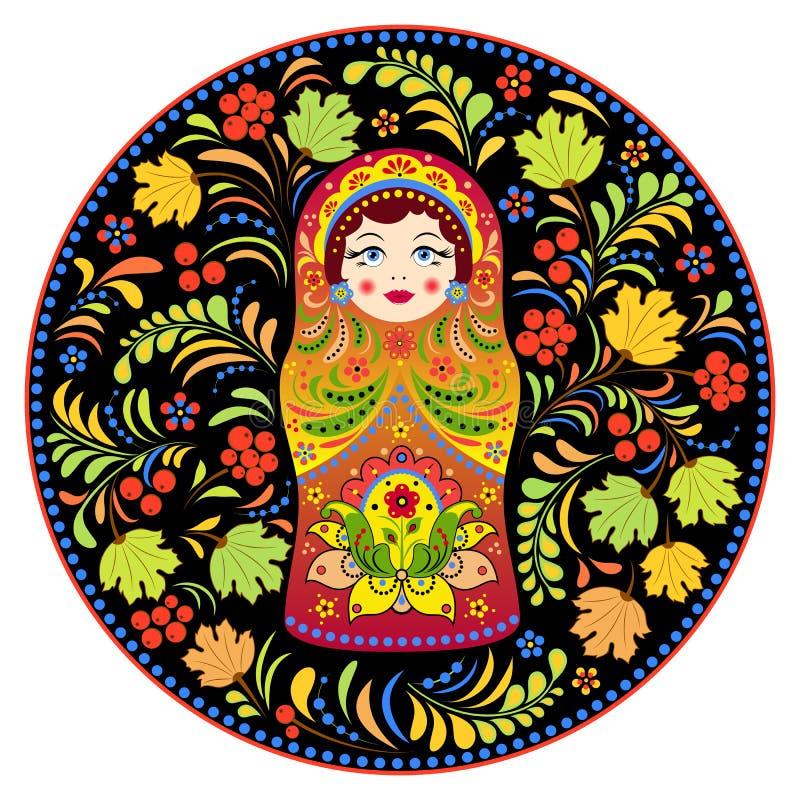 Matryoshka da boneca do russo e flores abstratas ilustração stock