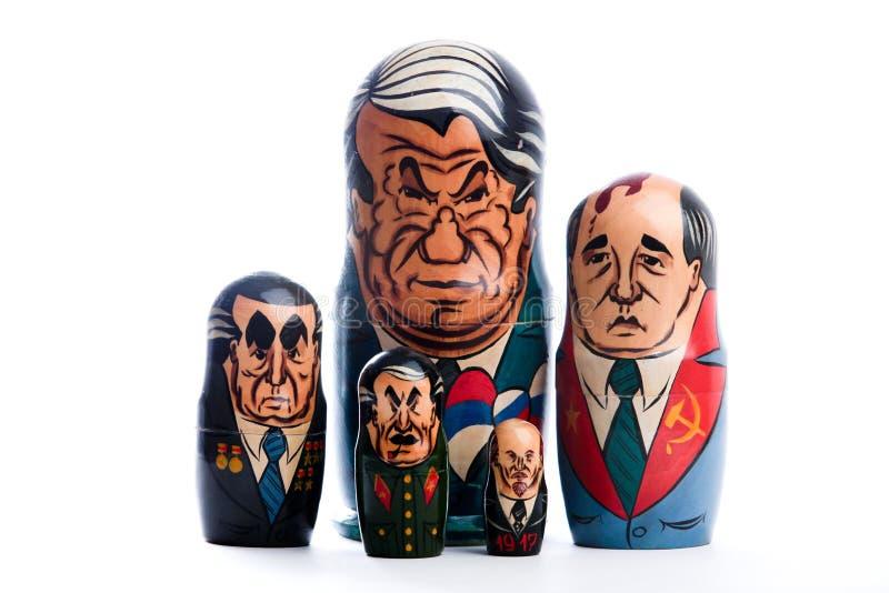 Matryoshka del ricordo, Presidente istory di matrioshka immagine stock libera da diritti