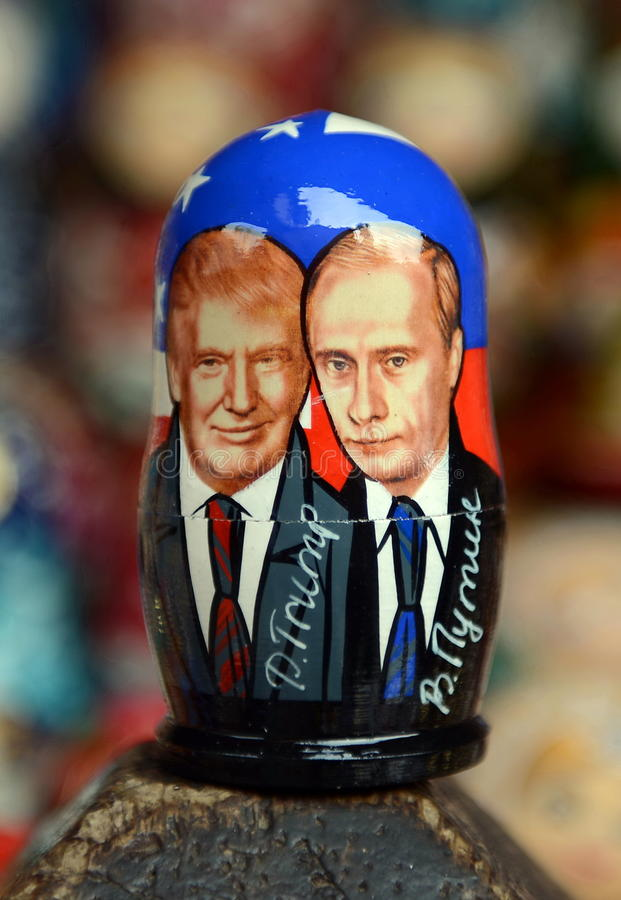 Matryoshka depicting Russian President Vladimir Putin and the 45th President of the USA of Donald trump on the counter of Souvenir. MOSCOW, RUSSIA - MARCH 12 royalty free stock photography