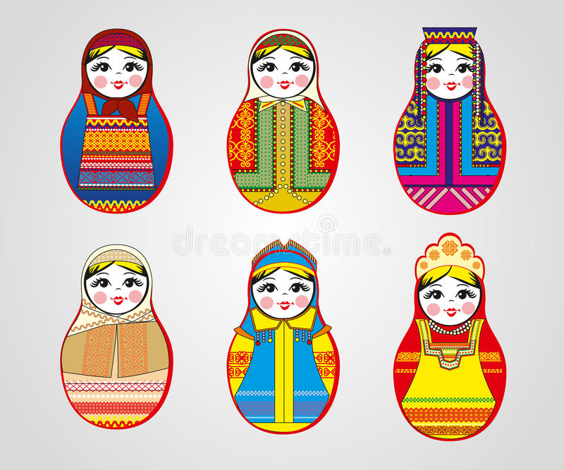 Matryoshka dockor i olika dräkter stock illustrationer