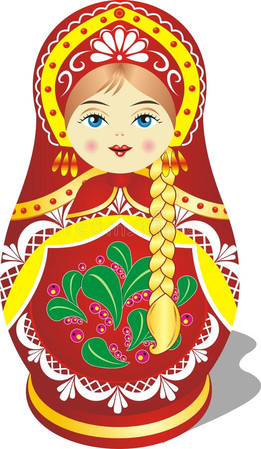 Matryoshka doll, blonde in red is the Russian folk toy stock photos