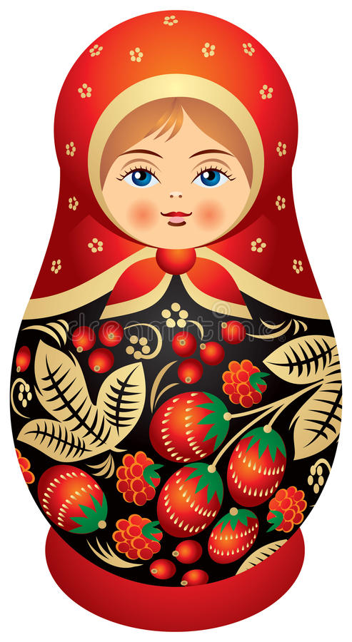 Matryoshka Doll In Khokhloma Style Royalty Free Stock Photo
