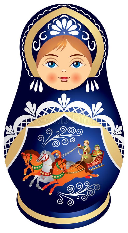 Matryoshka Doll With Russian Troika Stock Images