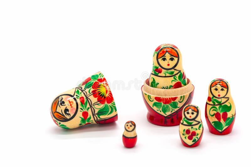 Matryoshka Dolls isolated on a white background. Russian Wooden Doll Souvenir. Russian nesting dolls, stacking dolls royalty free stock images