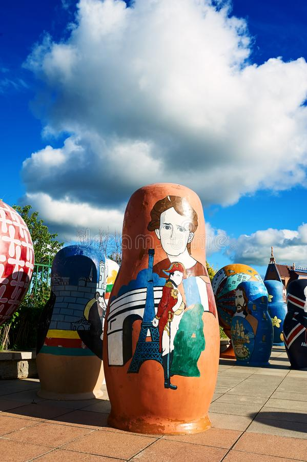 The matryoshka dolls in the NZH Manzhouli city,China. The photo was taken in Matryoshka doll square of NZH Manzhouli in Inner Mongolia, China royalty free stock image