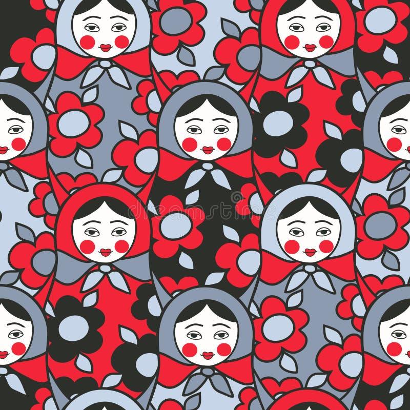 Matryoshka dolls - seamless pattern of Russian ne vector illustration