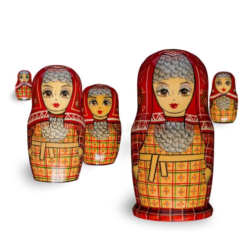 Matryoshka F?nf rote Puppen lizenzfreie stockbilder