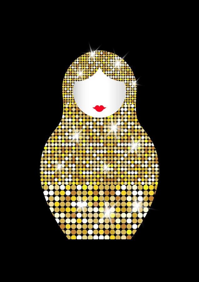 Matryoshka icon Russian nesting doll with luxury golden ornament, Fashion gold shiny mosaic pattern royalty free illustration