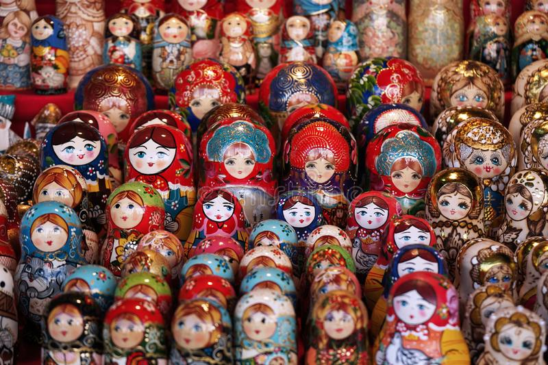 Matryoshka national Russian souvenir on the counter of the store.  stock photo