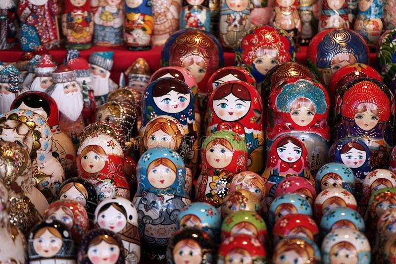Matryoshka national Russian souvenir on the counter of the store.  stock photos