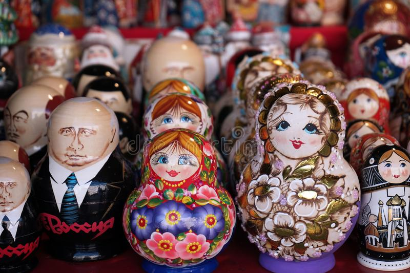 Matryoshka national Russian souvenir on the counter of the store.  royalty free stock photography