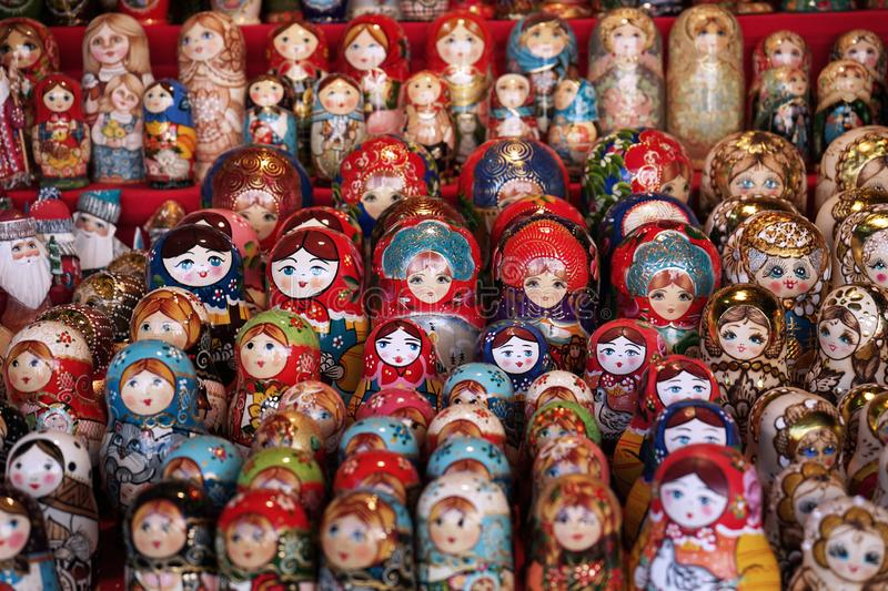 Matryoshka national Russian souvenir on the counter of the store.  royalty free stock photos