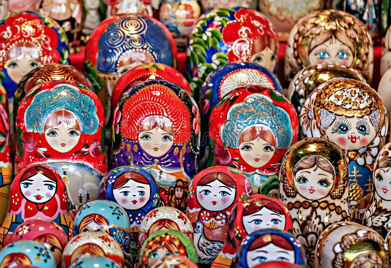 Matryoshka national Russian souvenir on the counter of the store.  royalty free stock photo