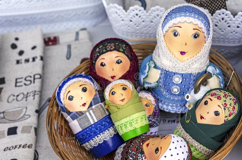 Matryoshka national Russian souvenir on the counter of the store.  royalty free stock images
