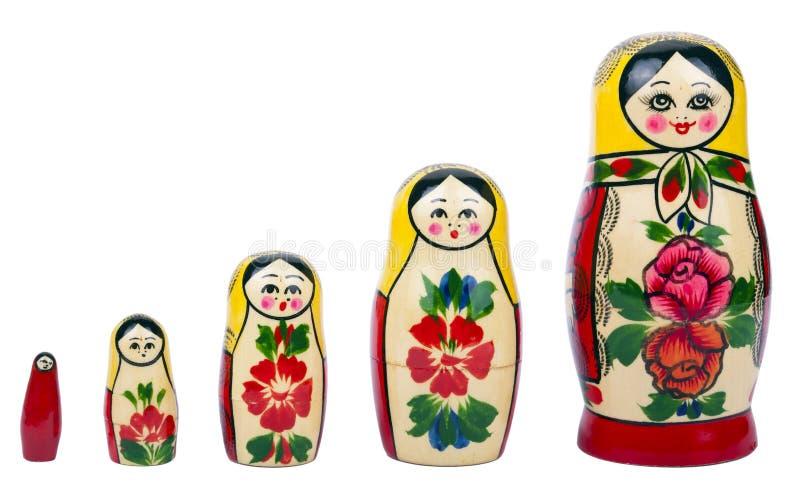 Matryoshka - russische genistete Puppen stockfotos