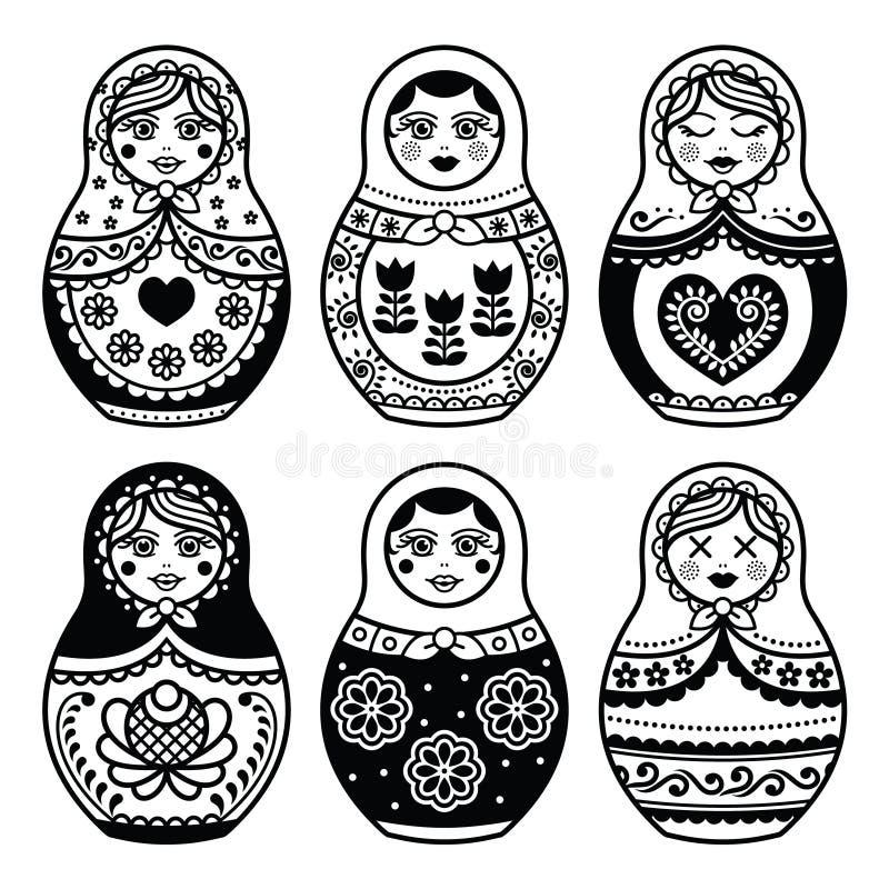 Matryoshka rysk dockasymbolsuppsättning vektor illustrationer