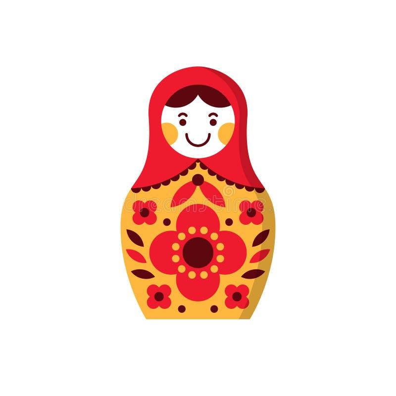 Matryoshka ryss som bygga bo dockan, souvenir Ryssland stock illustrationer