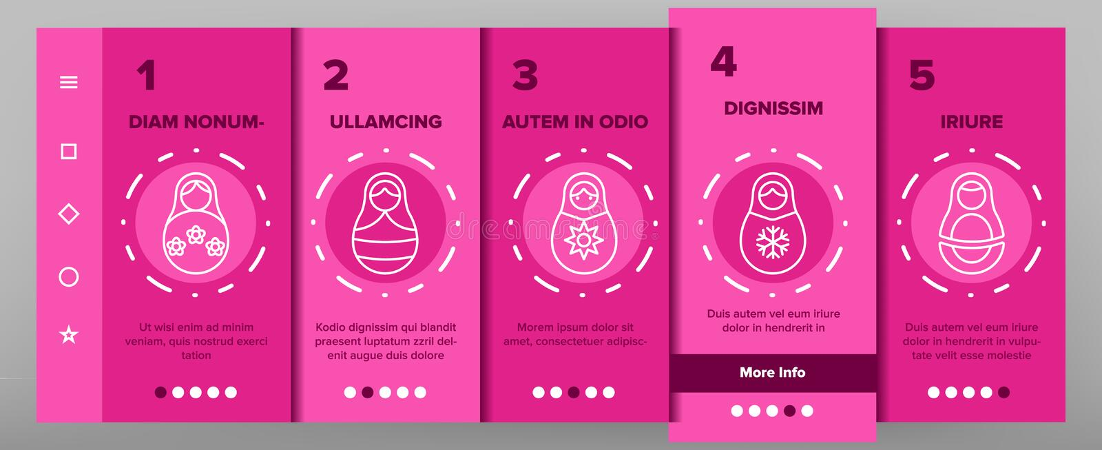 Matryoshka Toy Vector Onboarding royalty-vrije illustratie