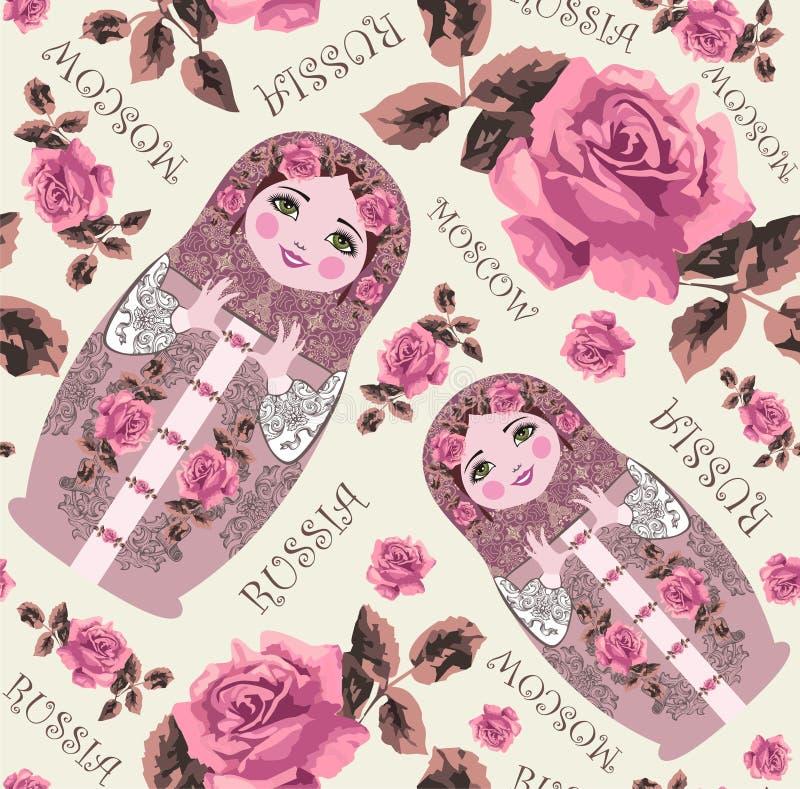 Matryoshka tradicional ruso Matrioshka en traje y rosas nacionales del estilo La gente jerarquizó el modelo inconsútil de la muñe libre illustration