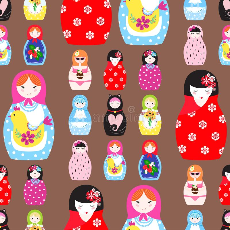 Matryoshka vector traditional russian nesting doll toy with handmade ornament figure pattern with child face and vector illustration