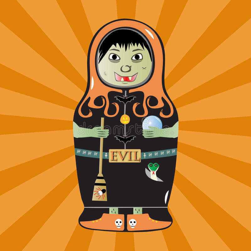 Download Matryoshka witch stock vector. Image of spider, decoration - 32473859