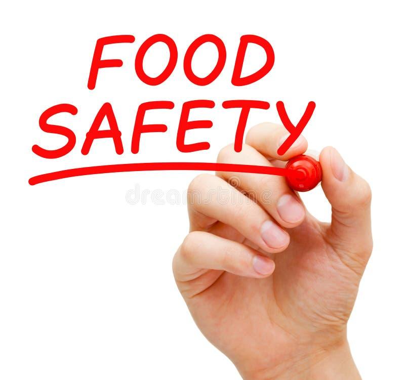 Matsäkerhet som är handskriven med den röda markören royaltyfri foto