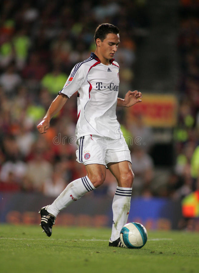 Mats Hummels of Bayern Munich. During a friendly match between Bayern Munich and FC Barcelona at the Nou Camp Stadium on August 22, 2006 in Barcelona, Spain stock images