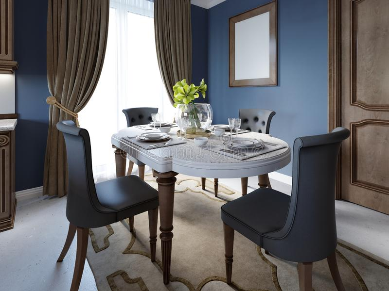 Matsal i klassisk och lyxig stil, med att äta middag tjänade som tabellen med dekorativa beståndsdelar, fyra stoppade stolar, två vektor illustrationer