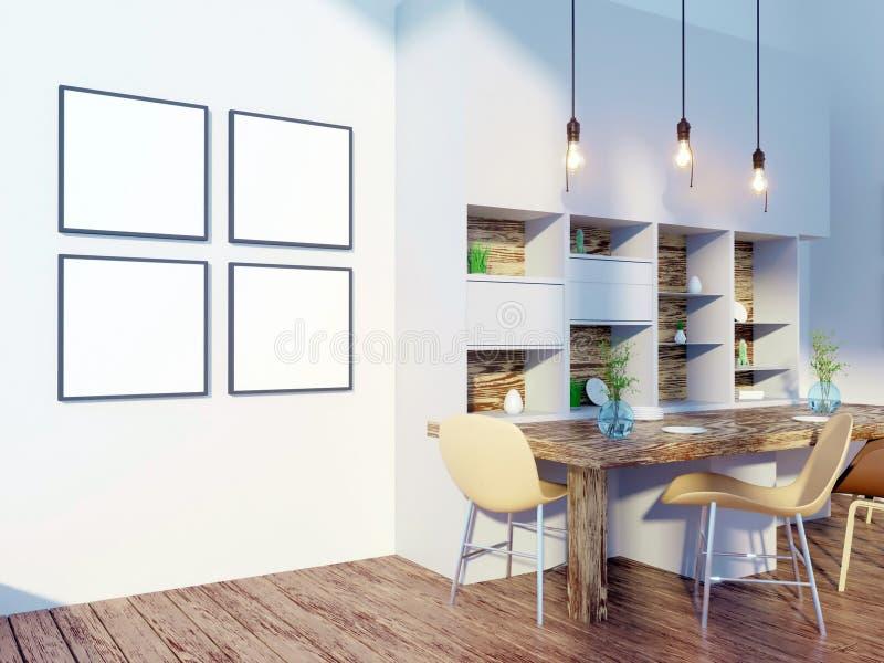 Matsal- och kökinnerväggåtlöje upp på vit bakgrund, 3D tolkning, illustration 3D royaltyfri illustrationer