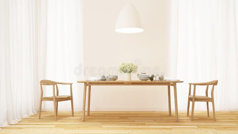 Matsal- och kökuppsättning i rent rum - tolkning 3D royaltyfri illustrationer