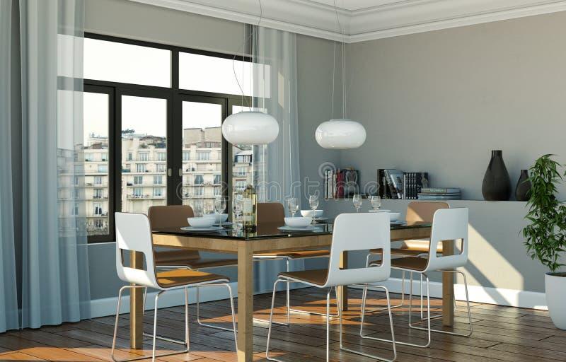 Matsalinredesign i modern lägenhet arkivbild