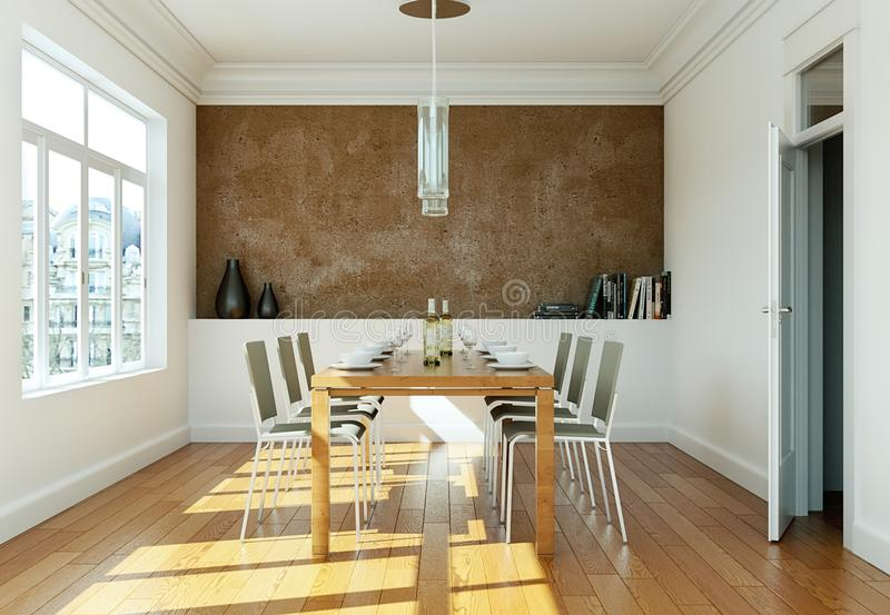 Matsalinredesign med den bruna väggen arkivfoto