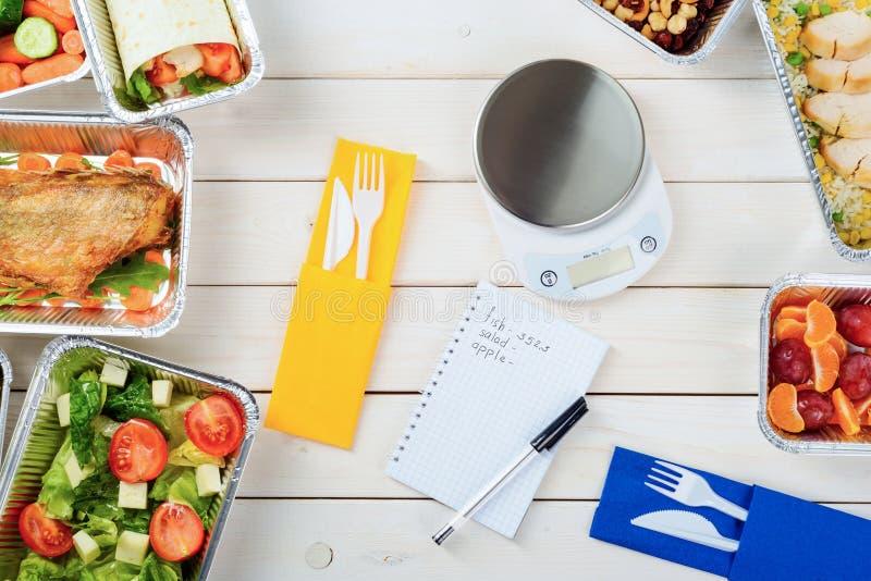 Matskala och anmärkningspapper arkivfoton