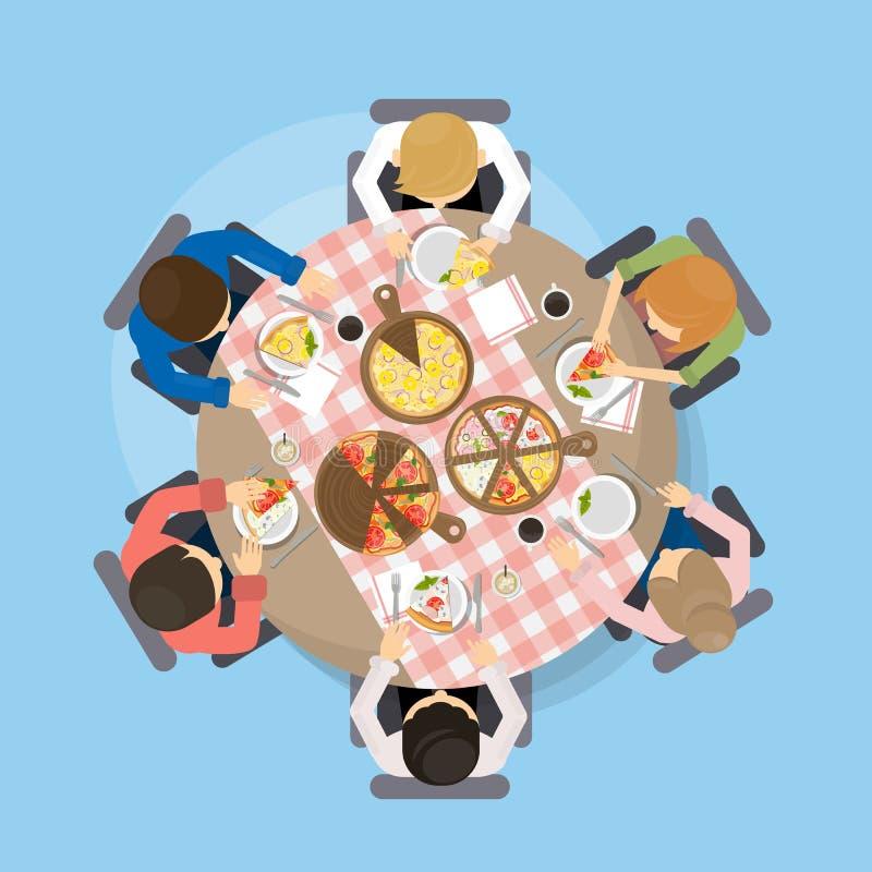 Matställe med pizza royaltyfri illustrationer