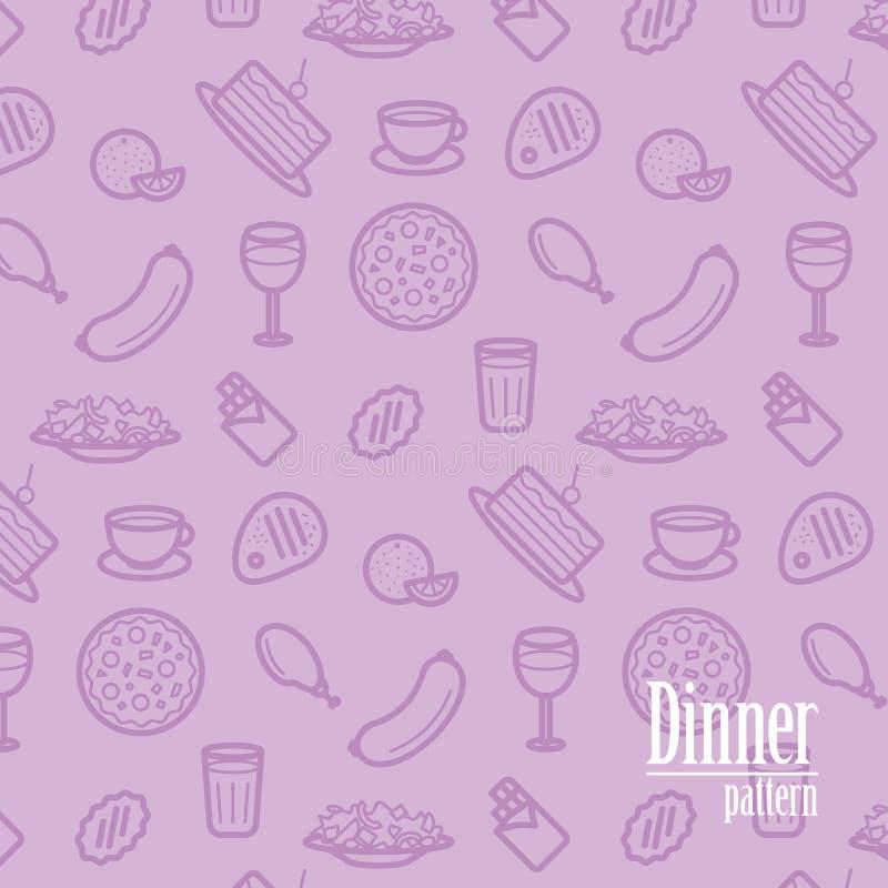 Matställebakgrund Den sömlösa modellen med linjen symboler av mat gillar pizza, kakan, biff, höna, vin, choklad, apelsinen etc. royaltyfri illustrationer