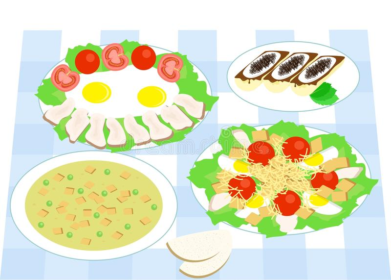Matställelägenhetdesign stock illustrationer
