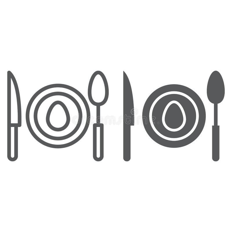 Matställelinje och skårasymbol, mat och dishware, plattatecken, vektordiagram, en linjär modell på en vit bakgrund royaltyfri illustrationer