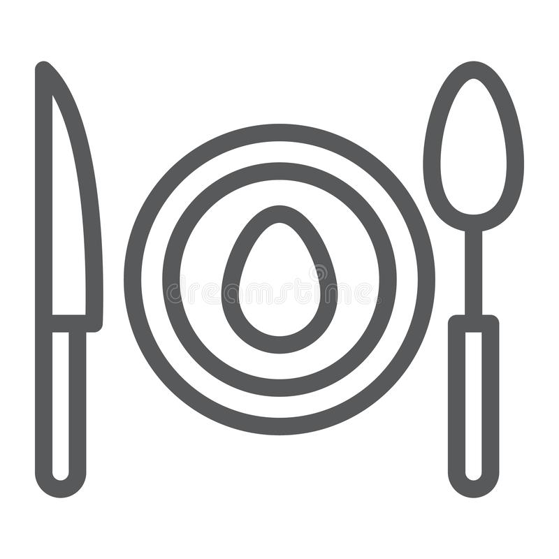 Matställelinje symbol, mat och dishware, plattatecken, vektordiagram, en linjär modell på en vit bakgrund royaltyfri illustrationer