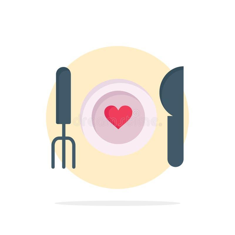 Matställen romantiker, mat, datum, kopplar ihop symbolen för färg för abstrakt cirkelbakgrund den plana stock illustrationer