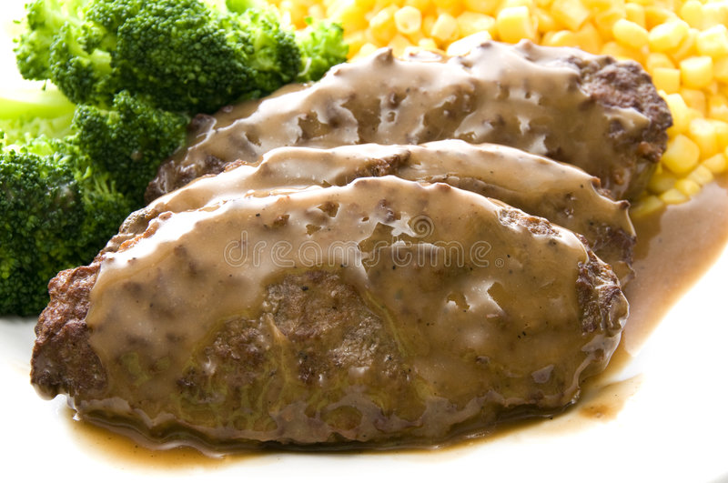 matställesalisbury steak royaltyfri foto