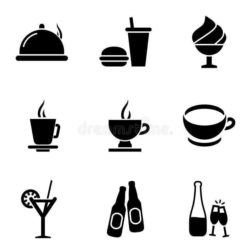 Matställesymbolsuppsättning Illustratio för vektor för stil för matsymboler enkel plan vektor illustrationer