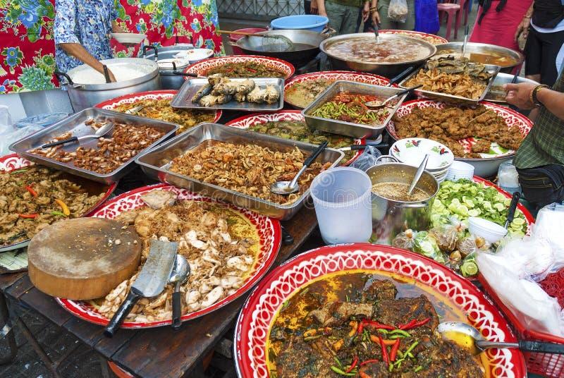 Matstall i bangkok Thailand arkivfoto